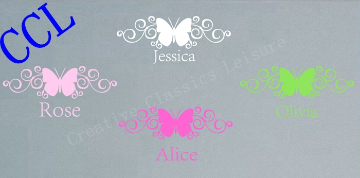 US $7.28 6% OFF|Free shipping BUTTERFLY NAME wall decal girl bedroom wall  decor, personalized name wall sticker butterfly baby nursery decor-in Wall  ...