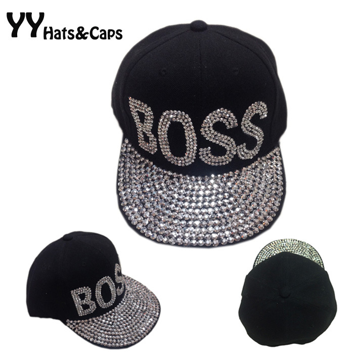 Cotton Black Baseball Caps Unisex Brand Rhinestones Snapback Hip hop Diamond Flat Brim Hats Boss Love Bone Swag Cap YY0328