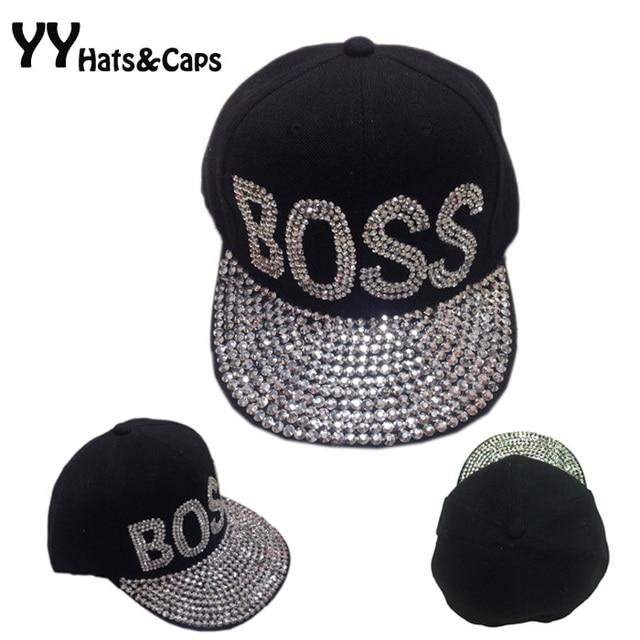 eee740e0e1b Cotton Black Baseball Caps Unisex Brand Rhinestones Snapback Hip hop  Diamond Flat Brim Hats Boss Love Bone Swag Cap YY0328