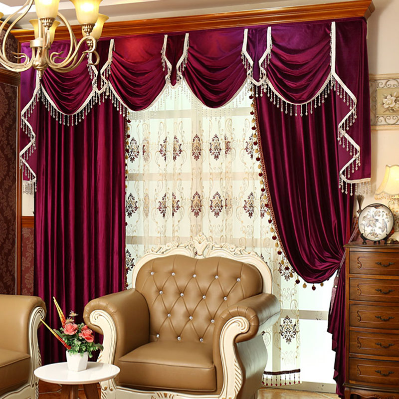 Luxury Europe style Italian Velvet Dark Red Curtains With Valance Thick Curtains For Bedroom embroidered tulle V-09