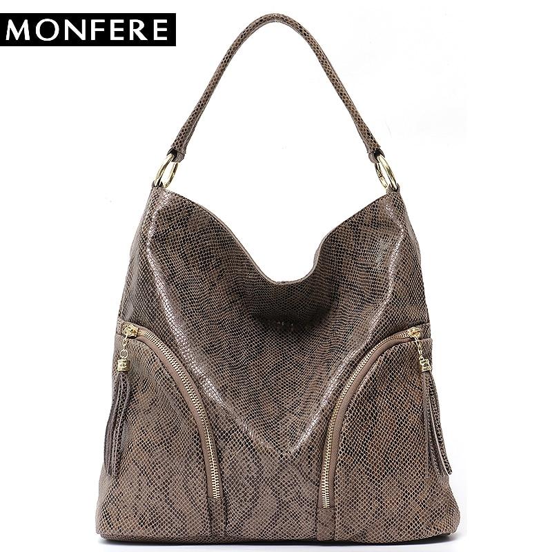 MONFERE Women Shoulder Bag Leather Handbags Snake Animal Pattern Ladies Hobo Bag Woman Bag 2018 Large Cowhide Zip Tassel Handbag