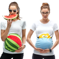Summer Maternity Shirt Pregnant Women Tops Short Sleeve Maternity Clothes Cute Cartoon T-shirts Big Size White Tees tyh-50772
