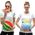Summer Maternity Shirt Pregnant Women Tops Short Sleeve Maternity Clothes Cute Cartoon T-shirts Big Size White Tees tyh-50772