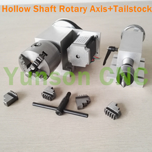 Hollow Shaft 80mm 4-Jaw Chuck 4th Rotary Axis Dividing Head Morse 2 Live Center