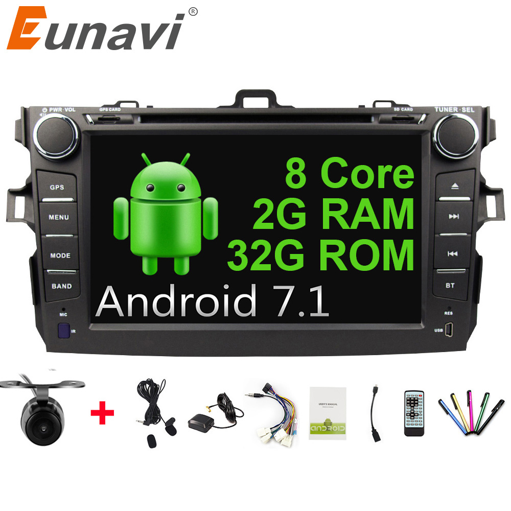 Eunavi Octa core 2 din Android 7.1 car dvd radio player stereo gps for Toyota Corolla 2007 2008 2009 2010 2011 2G RAM with wifi