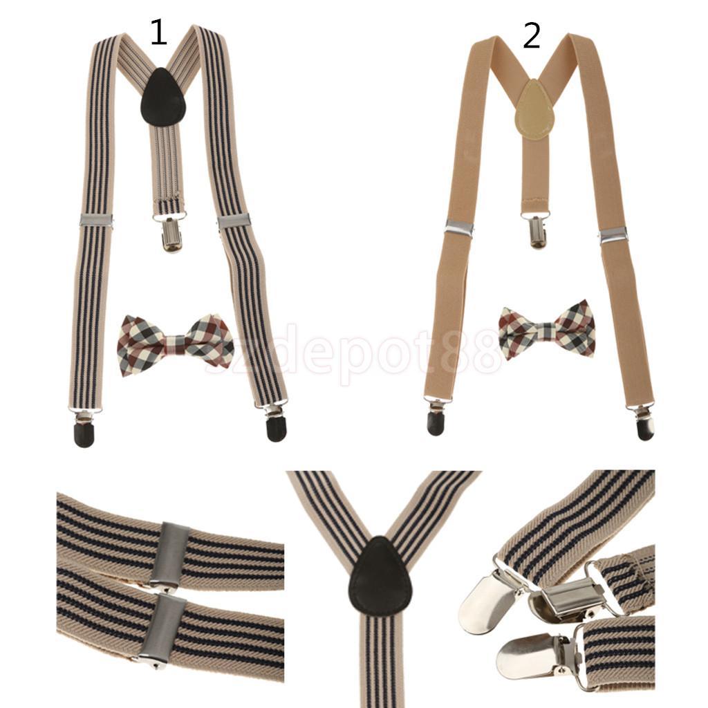 Kid Boy Girl Plaid Necktie Adjustable Y-back Suspender Belt Set