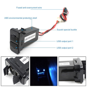Dual USB Car Charger 12V Auto Mobile Battery Charger Dedicated Power Adapter for Suzuki Fast Car USB Socket Charger image