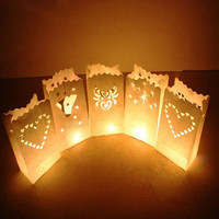 20pcs Set Fashion Heart Light Holder Luminaria Paper Lantern Candle Bag For Birthday Party Home Outdoor