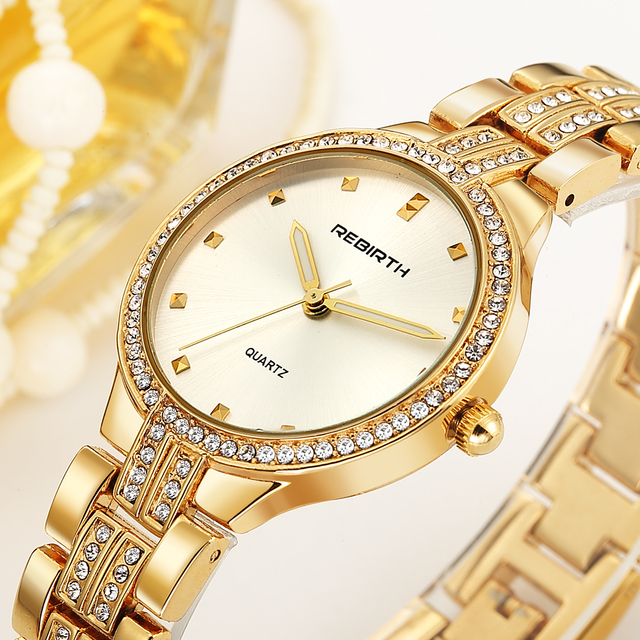 Fashion Rhinestone Watches Women Brand Luxury Crystal Watch Rose Gold Silver Lux