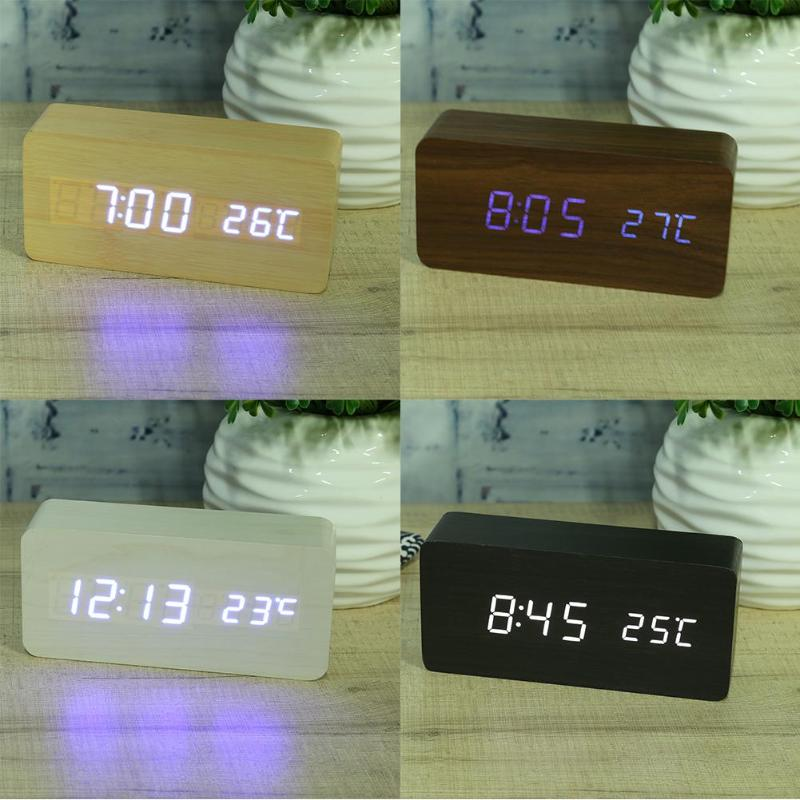 Modern Wooden Wood USB/AAA Digital LED Alarm Clock Calendar Thermometer E5M1 image