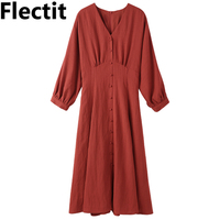 Flectit 2019 Spring Summer Vintage French Style Dresses 3/4 Sleeve Banded Waist Button Front V neck Linen Dress Womens Saia *