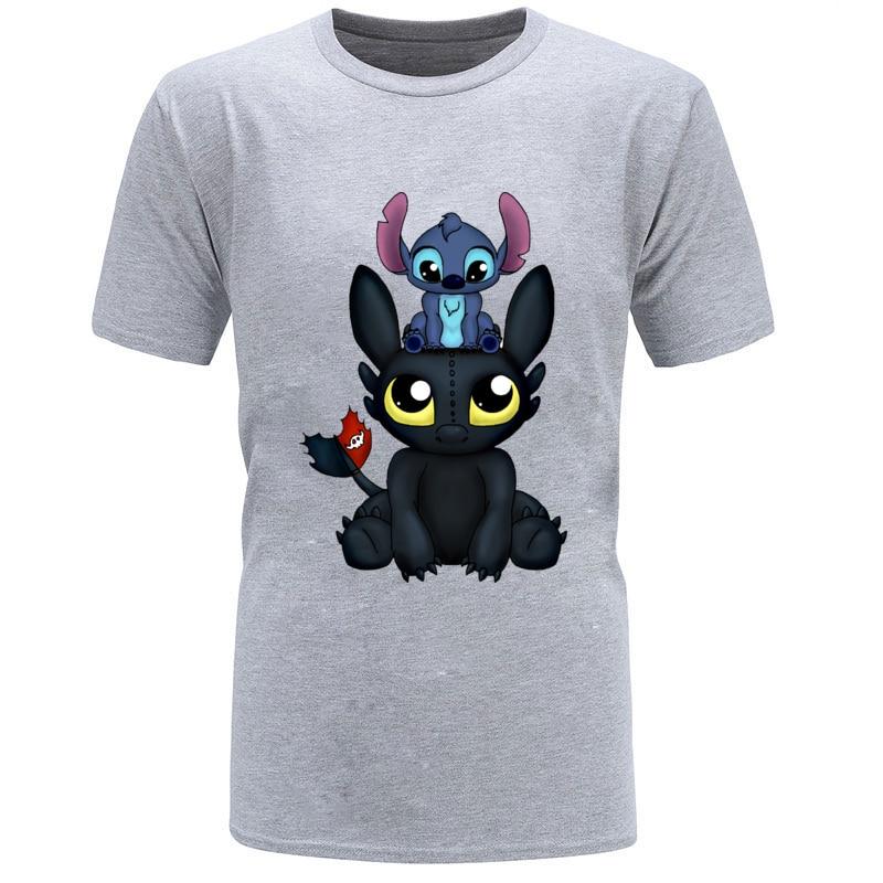 Hoodie;Black;4XL KIDOBA Stitch and Toothless T-Shirt