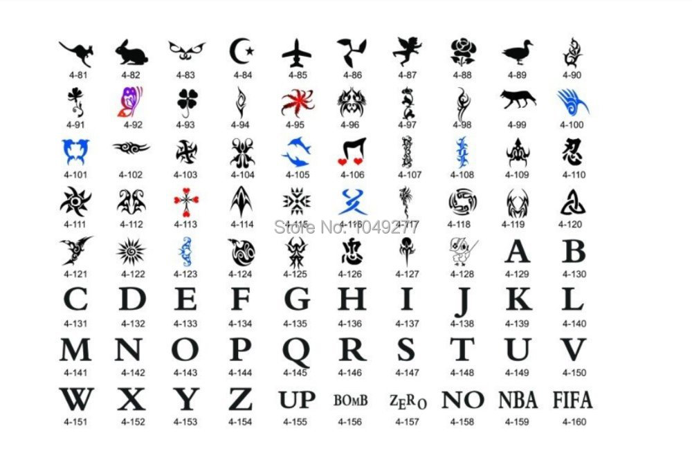 Popular Letters And Symbols Airbrush Tattoo Stencils 160 Designs For