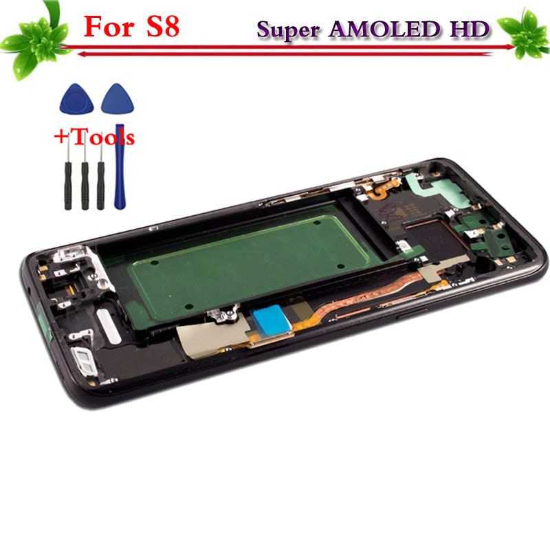 Super AMOLED pour Samsung Galaxy S8 G950 G950F LCD affichage à l'écran tactile digitizer Assemblée de Remplacement avec cadre pour Samsung S8
