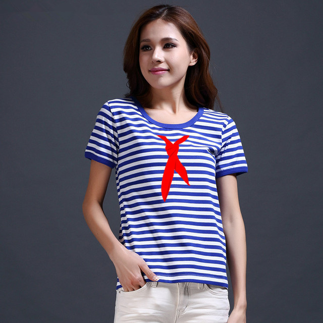 32fb30b3 Vintage Sea-striped Shirt Women T-shirts Red Scarf Printed T Shirt Blue and White  Stripes Breton Top Women Clothing Haihunshan