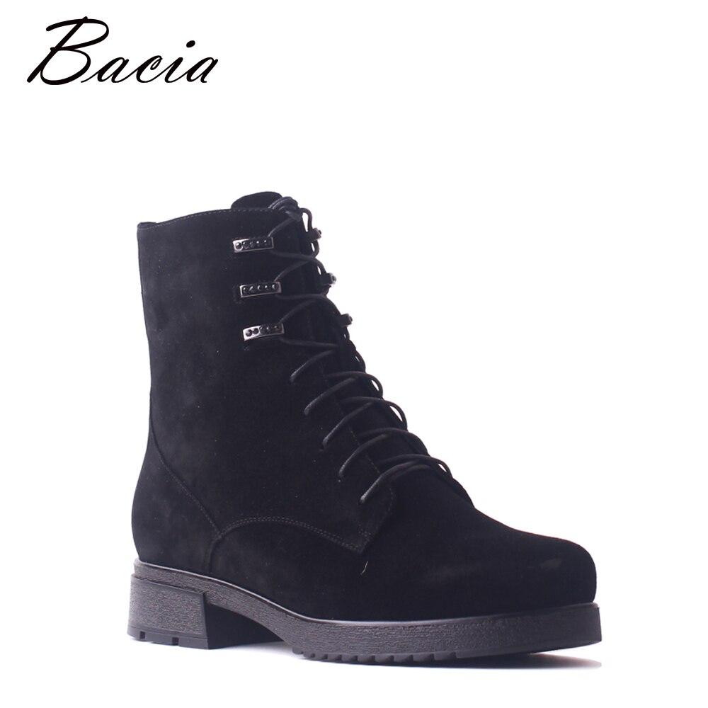 Bacia mujeres niños botas de gamuza de cuero genuino de la piel de lana botas de encaje negro-tacones gruesos zapatos de invierno cálido botas de tobillo SB100
