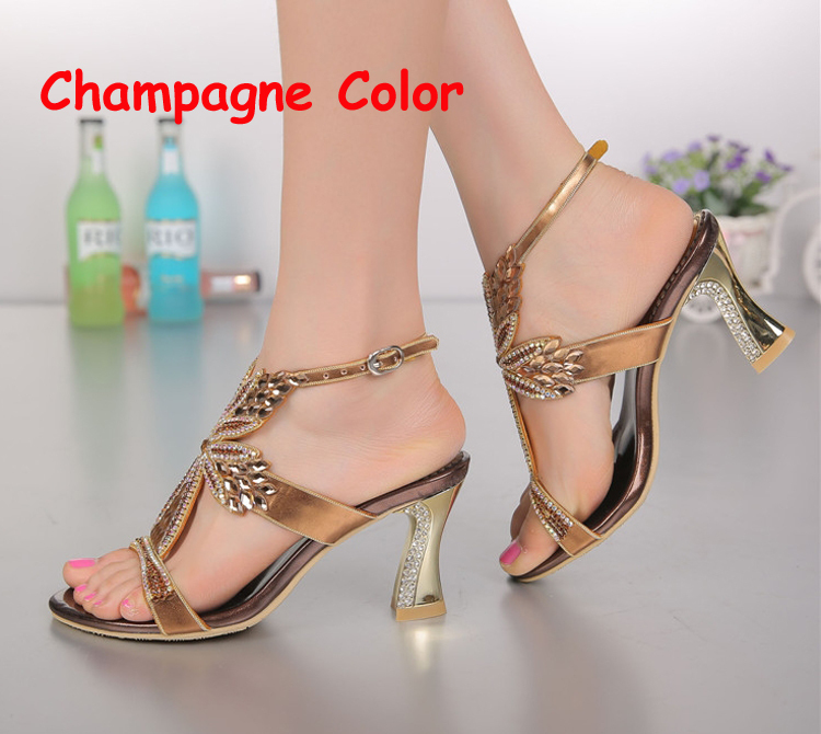 2018 Summer Bridal Wedding Shoes Ankle Strap Chunky Heels Fashion Champagne  Purple Gold Sandals Foral Crystal Prom Party Shoes-in Women s Sandals from  Shoes ... 6e1500321838