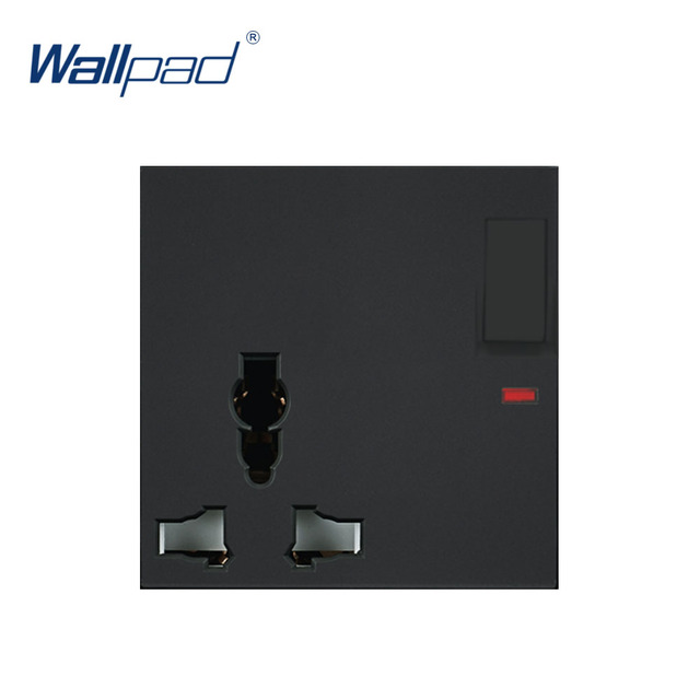 Wallpad Luxury 3 Pin Multifunction Socket With Switch Electric Outlet Function Key For Wall White And Black Plastic Module Only