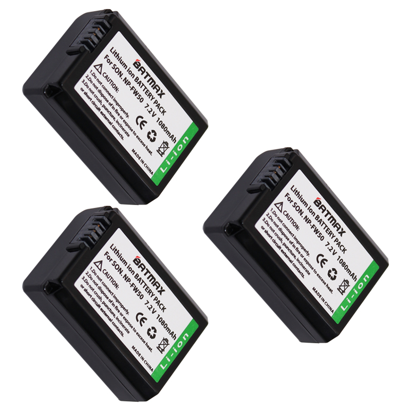 3X NP-FW50 NPFW50 NP FW50 Batteries for Sony Alpha a33,a35,a37,a55, SLT-A33,SLT-A35,SLT-A37,SLT-A37K,SLT-A37M  Fully Decoded