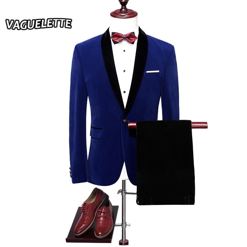 Royal Blue Velvet Wedding Suit Men Single Button Slim Fir Wedding Dress 2017 Wine Red Modern Suits For Men M-4XL