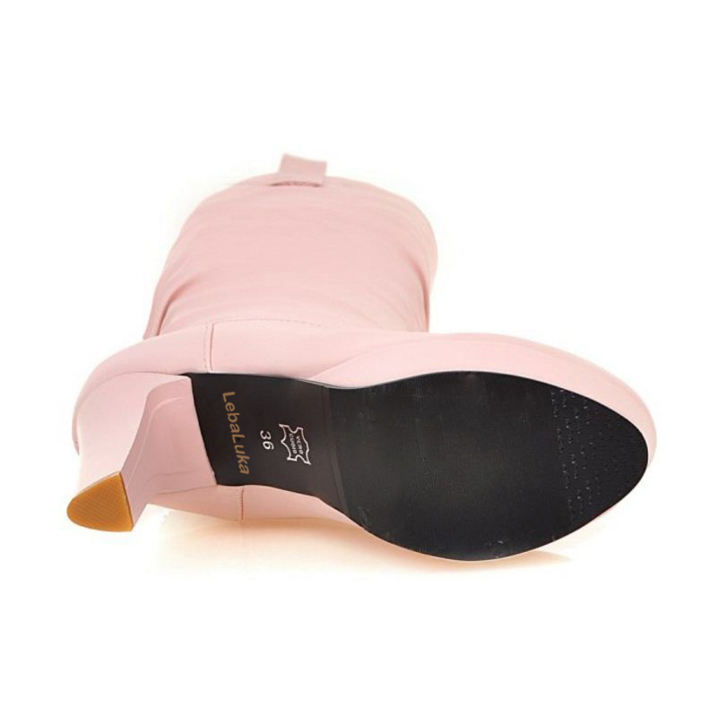 Mode Avec rose Fourrure Lebaluka Taille 34 À Glissement Beige noir Chaussures Minces blanc Bottes Genou Haute Concise Talons Hauts Femmes 43 srthQdC