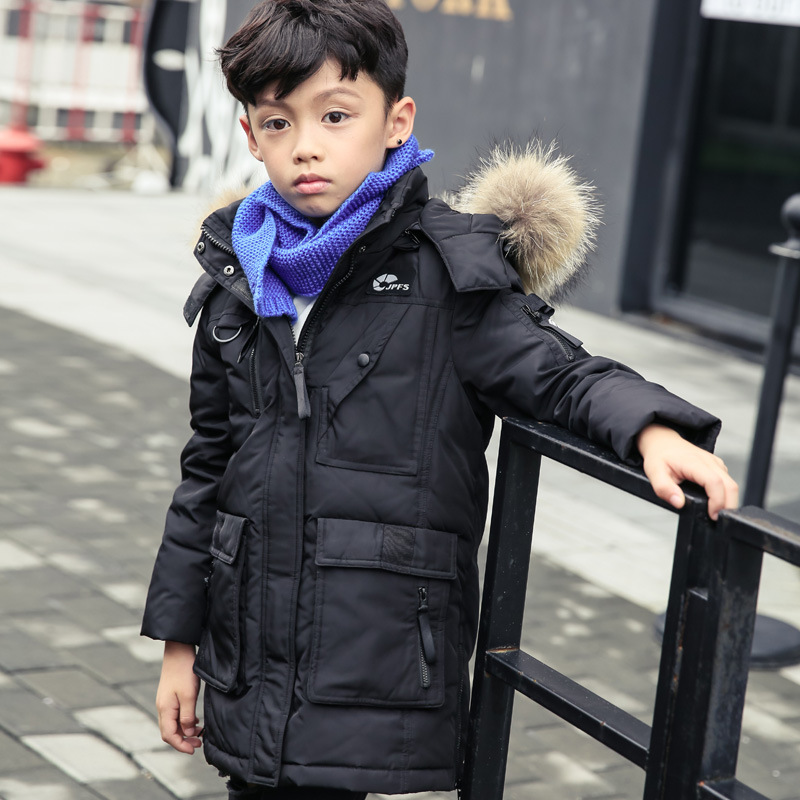 2017 New Children Cold Winter down boys Thickening Warm Down Jackets Boys long Big Fur Hooded Outerwear Coats Kids Down Jacket girls down coats girl winter collar hooded outerwear coat children down jackets childrens thickening jacket cold winter 3 13y