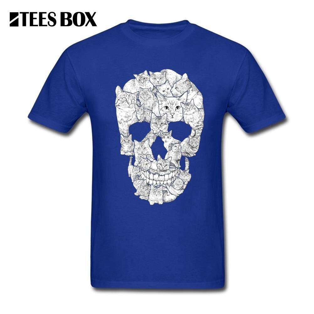 Men Casual t Shirts Cat Skull Horror Skull Men s Crewneck Short