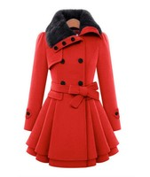 Fashion women's new European and American Slim long woolen coat women Double breasted thick coat Large size Women Wild winter