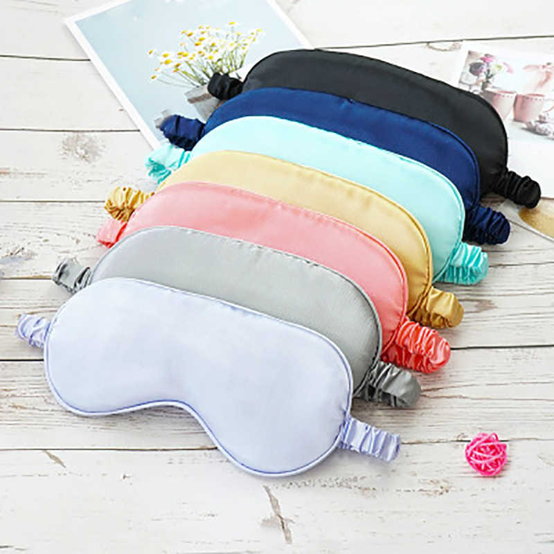 1pcs Faux Silk Eyeshade Sleeping Eye Mask Cover Eyepatch Blindfold Solid Portable New Rest Relax Eye Shade Cover Soft Pad