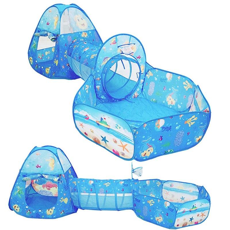 Складная палатка тоннель игрушка мяч бассейн ямы Ocean серии мультфильма играть в игры ползать дома Портативный игрушки для детей детские дет...