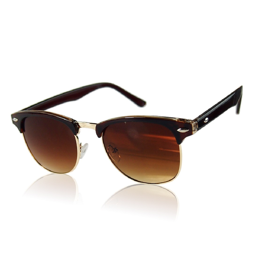 c83a99135 2016 nova moda Metade Quadro Semi-Sem Aro Óculos Oversized Óculos de Sol  Clássico Retro Vintage de Metal Unisex