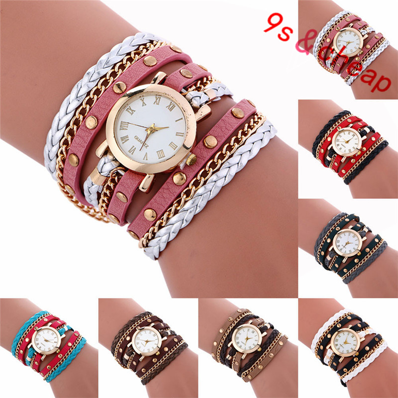 Fashion Large Dial Chimes Diamond Leather Bracelet La $