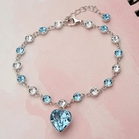 Tuliper 925 Sterling Silver Heart Bridal Bracelet Blue Cubic Zircon Bracelet For Wedding Party Jewelry Valentine's Gift