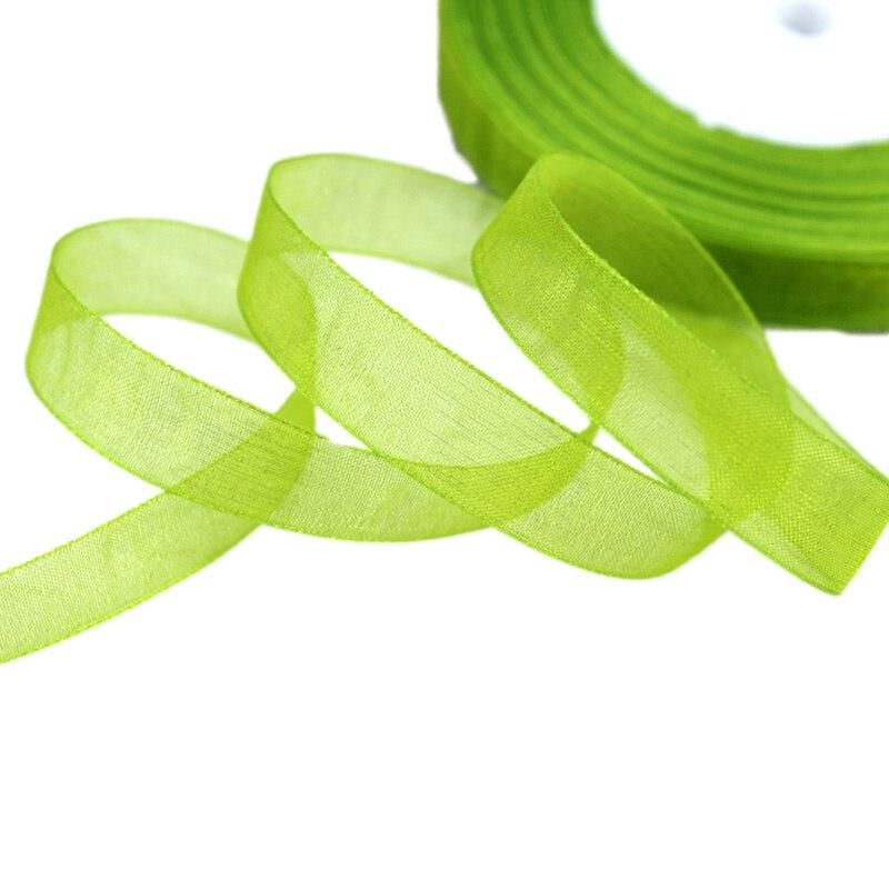 (50 ярдов/рулон) 1/2 »(12 мм) оптовая продажа фруктов зеленый органзы ленты подарочная упаковка украшения Рождественские Ленты