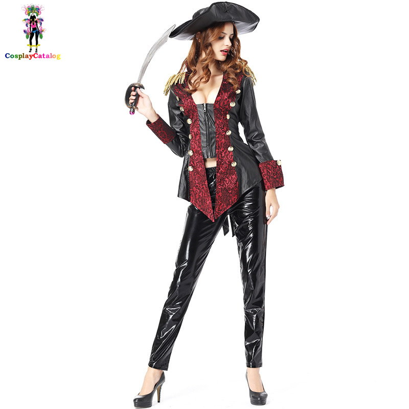 Sexy Halloween Women Pirates of the Caribbean Costume Leather PU Pirate Captain Costumes For Woman