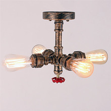 Edison Loft Vintage LED ceiling Light Fixtures With 4 Lights Living Room Industrial Water Pipe Ceiling Lamp home Lighting vintage led ceiling lights rope hang lamp for home living room nordic bar lighting ceiling fixtures industrial decor luminaire