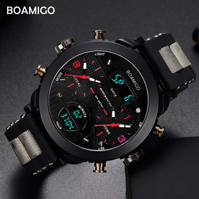 men watches BOAMIGO brand 3 time zone military sports watches male LED digital quartz wristwatches gift box relogio masculino 1