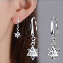 Everoyal New Arrival Female Crystal Triangle Drop Earrings For Women Jewelry Fashion Silver 925 Girls Accessories