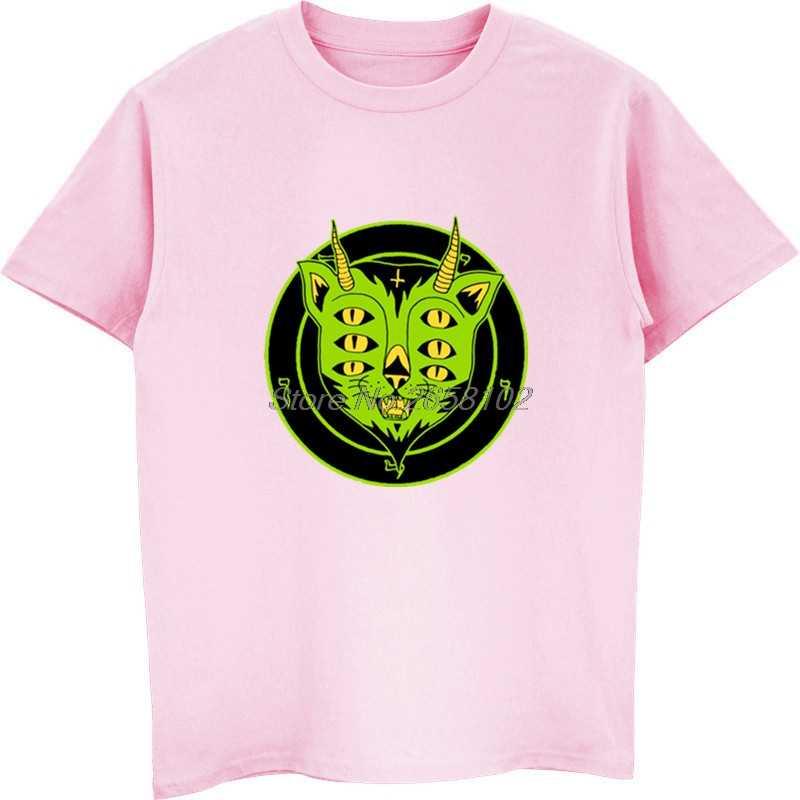 ファッションの男性の綿 Tシャツおかしい 6 目悪魔猫プリント男性のクール Tシャツ蛍光動物 Tシャツ原宿ストリート