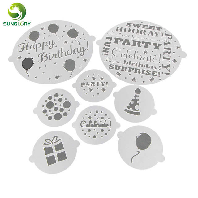 Us 3 19 20 Off Fondant 8pcs Set Happy Birthday Cake Stencil Mold Cupcake Cookie Stencils Cake Template Mold For Baking Kitchen Party Decoration In