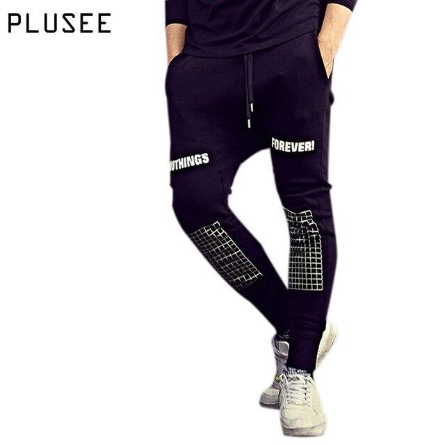 Plusee тренировочные брюки для мужчин плюс размер случайные люди штаны 2017 весна осень черно-белой печати тренировочные брюки для мужчин спортивная XL-6XL