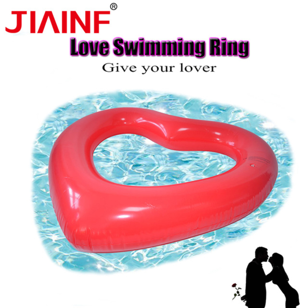 JIAINF Children Audlts Circle For Swimming Eco-friendly Pvc Red Heart Shaped Easy To Carry Inflatable Ring Pool Toys Beach Pool