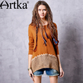 Artka Women's Autumn New Ethnic Embroidery Patchwork T-shirt Vintage O-Neck Long Sleeve Irregular Hem Tees TA10369Q
