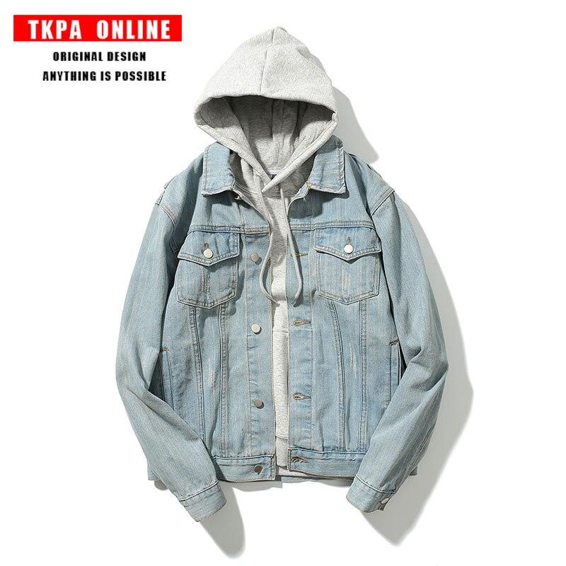 TKPA Fashion Tide Brand Men Oversize Washed Blue Denim Jacket Vinage Male Denim Jackets Overcoat Hip Hop Coats