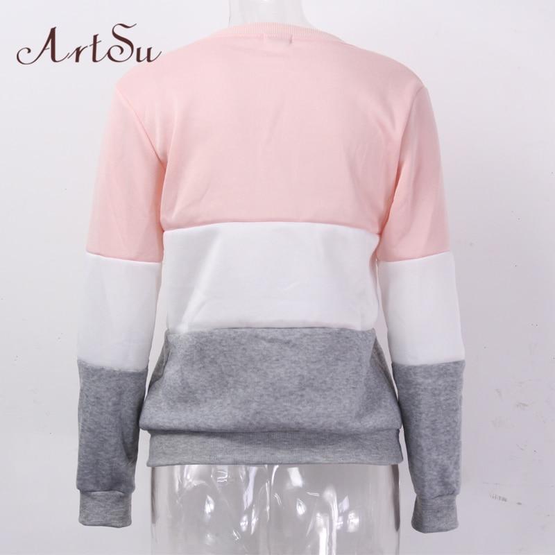 Fleeve ArtSu 2017 Jesienią i zimą kobiet bluzy drukowane litery Różnych kobiet dorywczo bluza hoody sudaderas EPHO80027 6