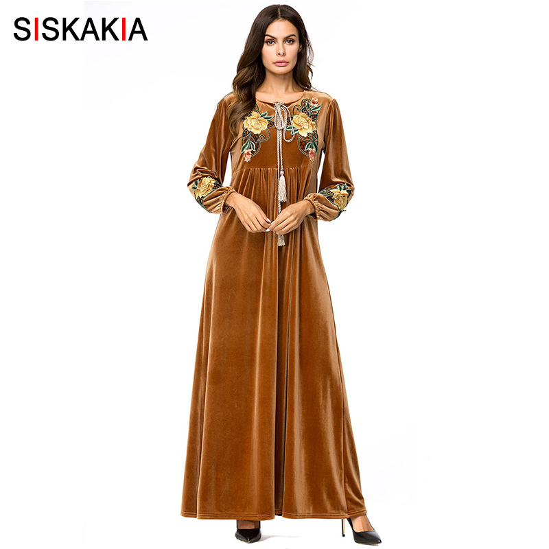 Siskakia Velvet Embroidery Long Dress Ethnic High Waist Swing A line Dresses Round Neck Long Sleeve