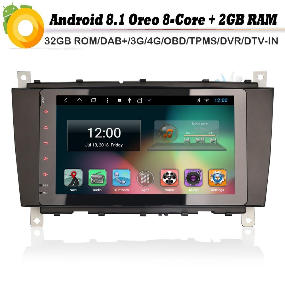 Octa Core Android 8.1 Auto GPS Navigation Player DAB + WiFi 4g Radio DVR OBD Sat Nav für Mercedes Benz c/CLC/CLK Klasse W203 W209