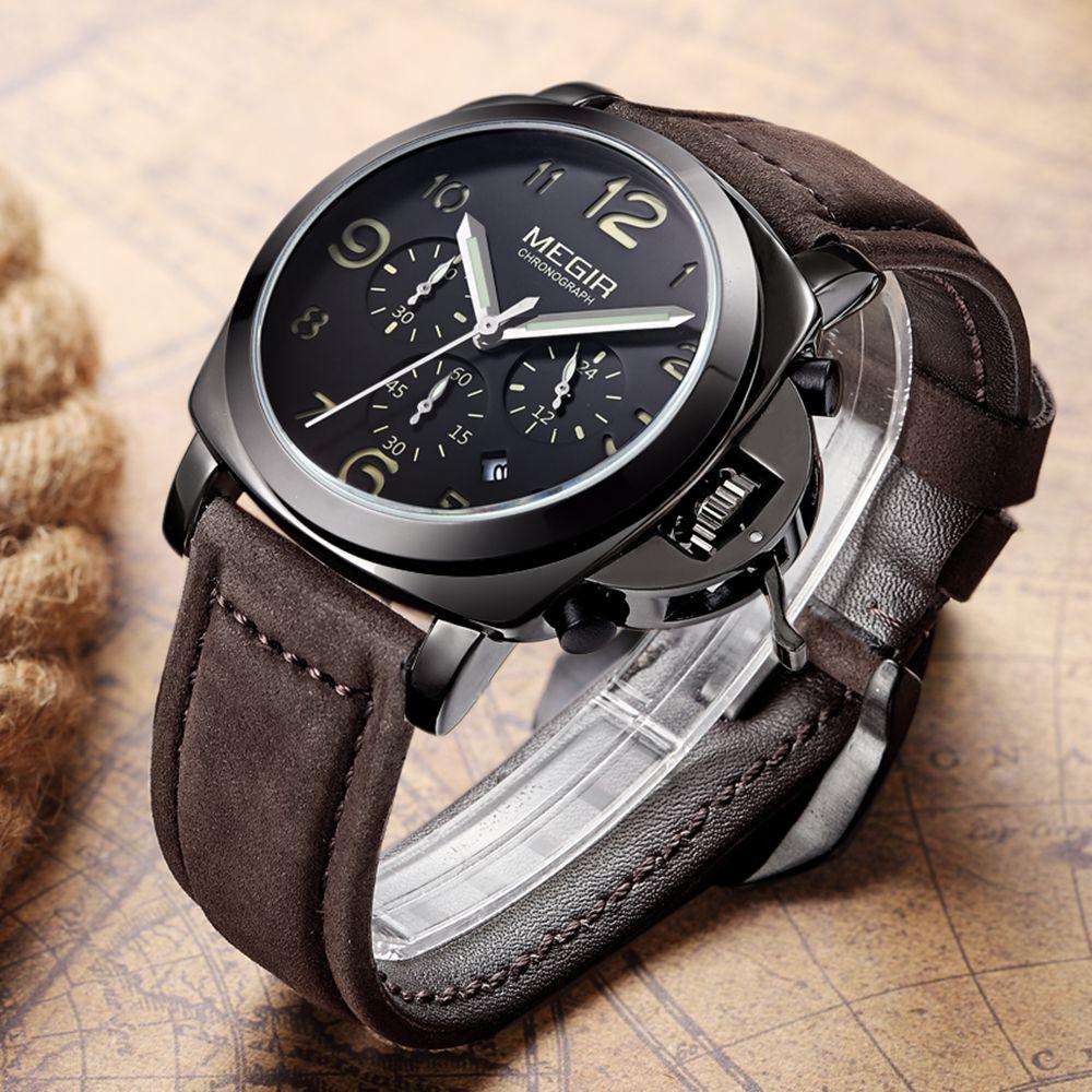 MEGIR Classic Watches For Men With Leather Band Retro Quartz Sport Watch Men Luxury Top Brand Men's Wrist Watches Reloj Hombre цена 2017