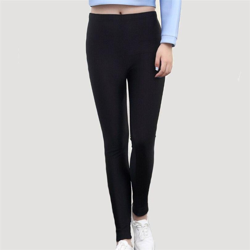25f5f2e66df04 Femmes Trouses Chaud Noir Leggings Haute Élastique Épaissir Velours Bon  Coton Cheville Longueur Hiver Leggins Fitness Solide Legging K124