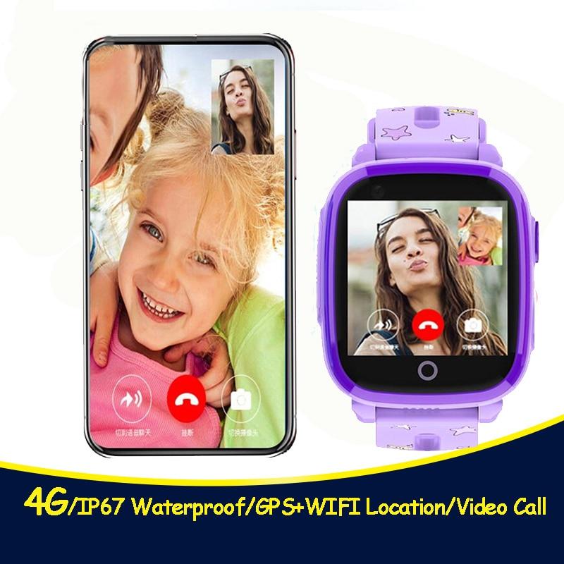 4G caméra GPS montres WI-FI enfants enfants étudiants montre-bracelet intelligente carte Sim/SOS/appel vidéo/moniteur Tracker emplacement étanche